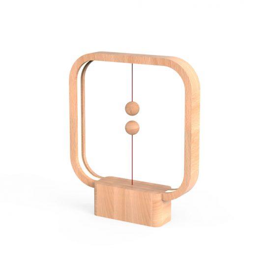 Unikalna lampa z lewitującym włącznikiem jasne drewno